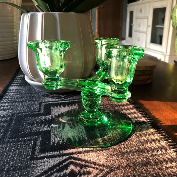 Green glass 3 candle candleabra